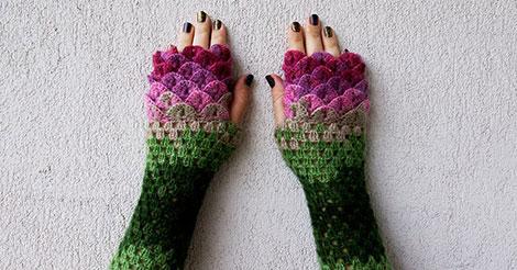 Ces gants de dragons avec leurs écailles tricotées vous protégeront du froid cet hiver