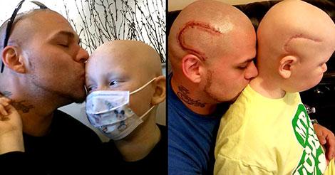 Le papa de l'année se fait tatouer pour soutenir son fils atteint d'un cancer !