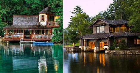 23 maison de personnes qui ont quitté la ville pour s'installer au bord d'un lac